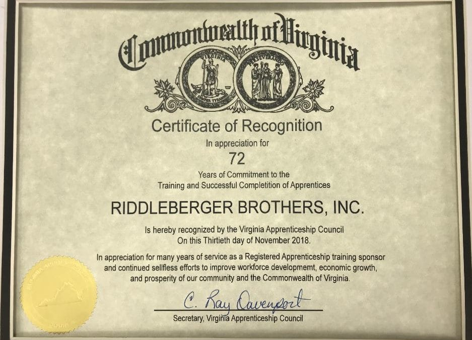 RBI is recognized by the Virginia Apprenticeship Council