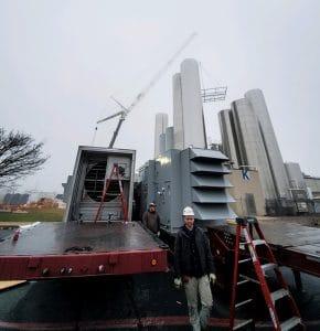 Commercial HVAC unit on a trailer